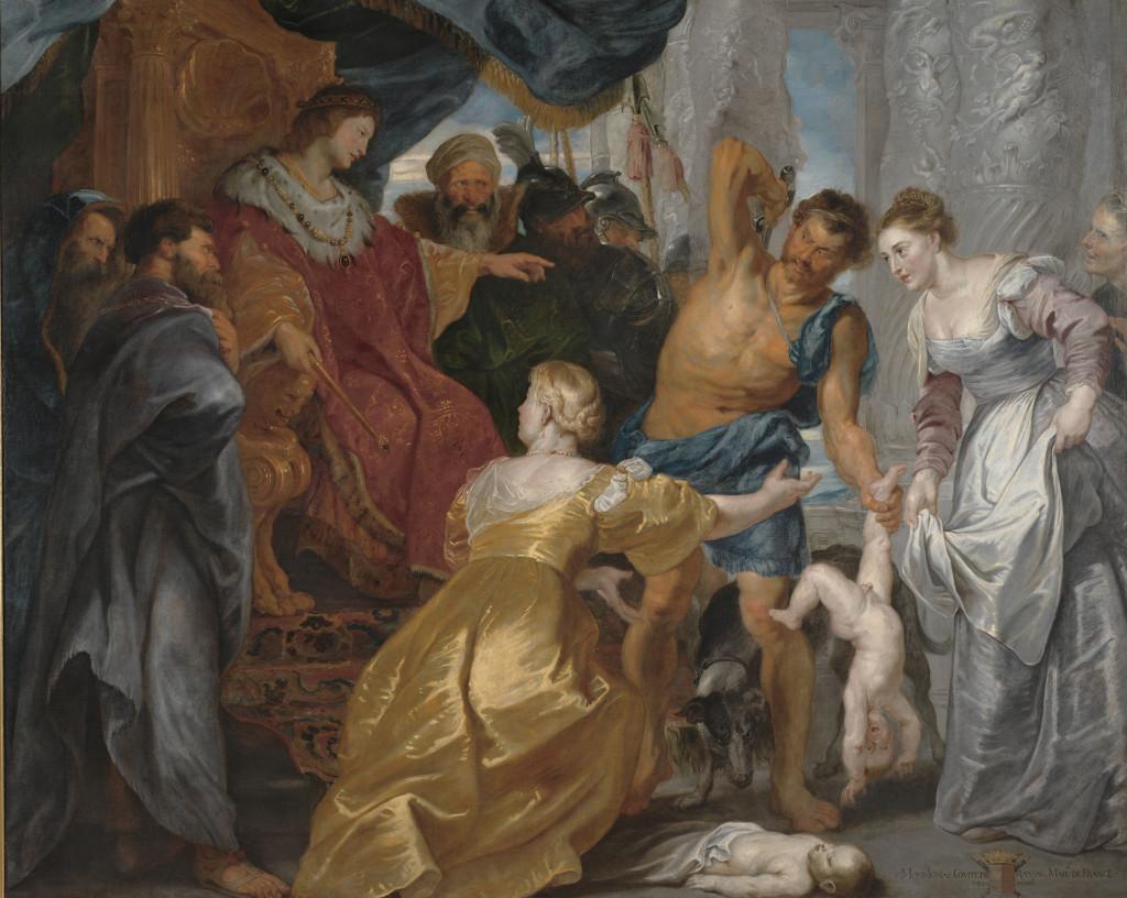Oljemålning med titeln Salomos dom. Utförd av Peter Paul Rubens cirka år 1617.