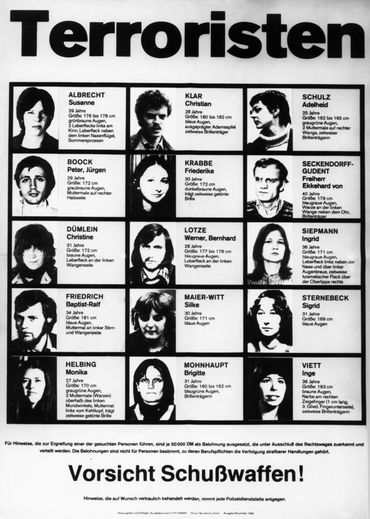 En tysk affisch över efterlysta terrorister från 1980