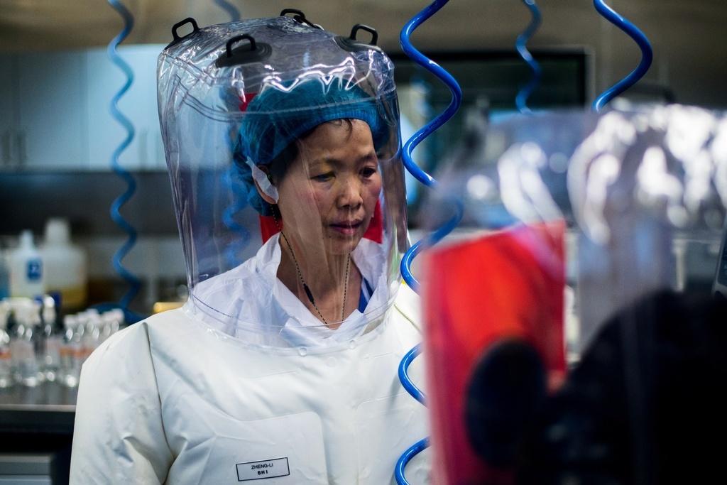 Shi Zhengli fotograferad i ett högsäkerhetslaboratorium (BSL-4). Hon har själv sagtv att hennes forskning på coronavirus i Wuhan utfördes på en mycket lägre nivå, BSL-2 eller BSL-3.