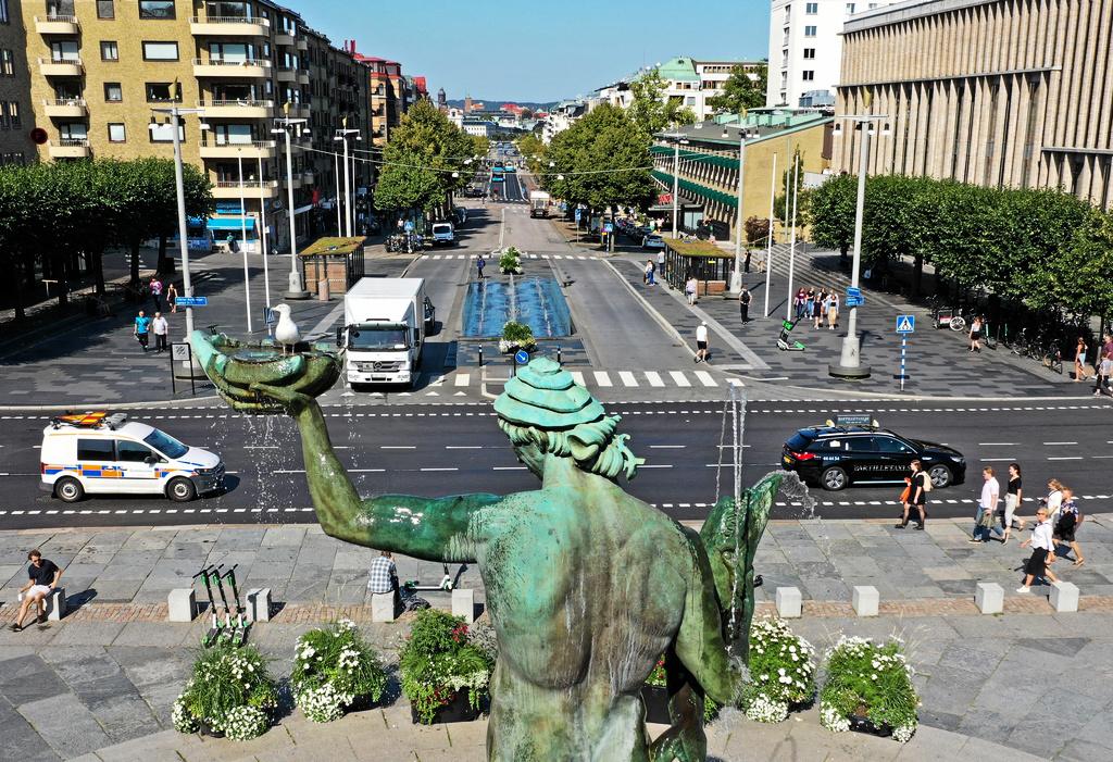 Götaplatsen med Poseidonstatyn i Göteborg. I bakgrunden Kungsportsavenyen. Foto Jeppe Gustafsson / TT /