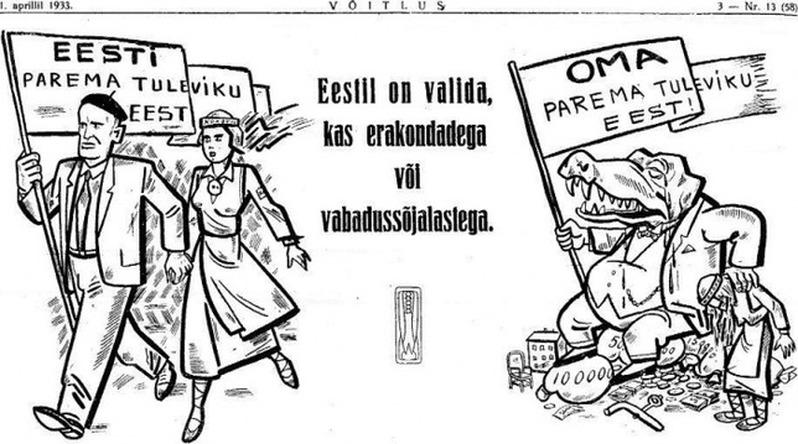 En illustration ur Frihetskrigarnas publikation Võitlus (Kampen). Mannen och kvinnan bär på en fana med texten