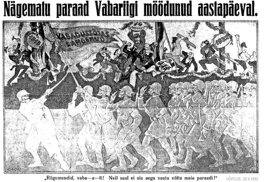 En illustration ur Frihetskrigarnas publikation Võitlus (Kampen). Befälhavaren för de döda (underförstått stupade soldater i frihetskriget) ger order